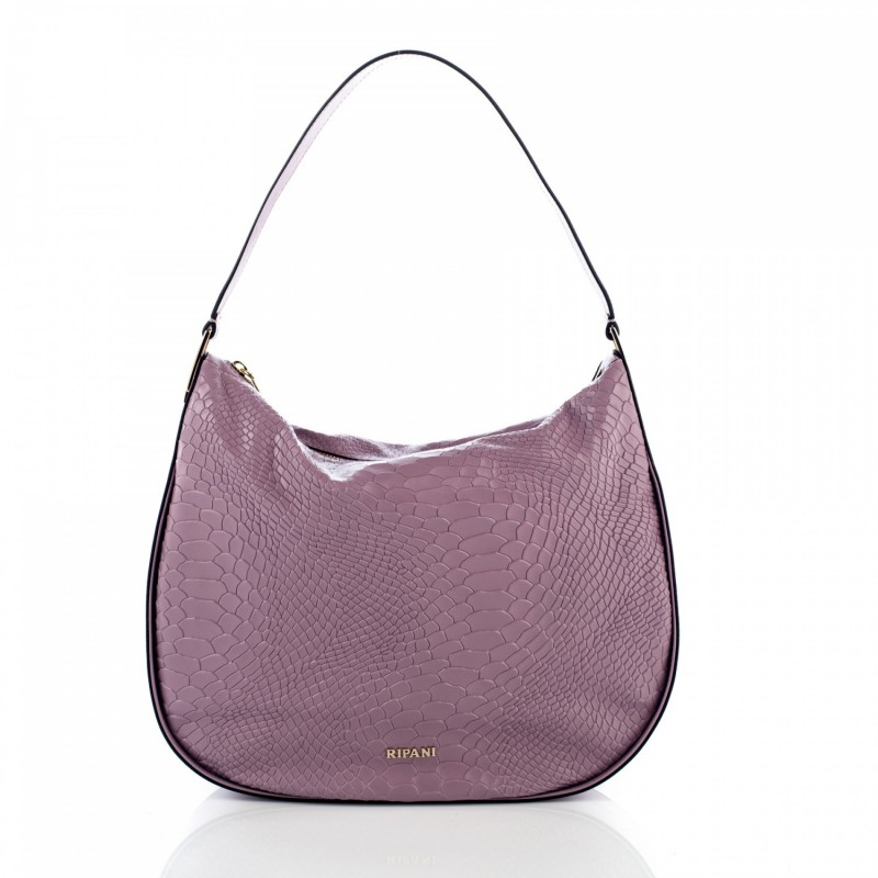 Shoulder bag in soft leather printed with python effect wisteria color.  Equipped with leather adjustable strap. Closure with magnet. 69f2800bb6423