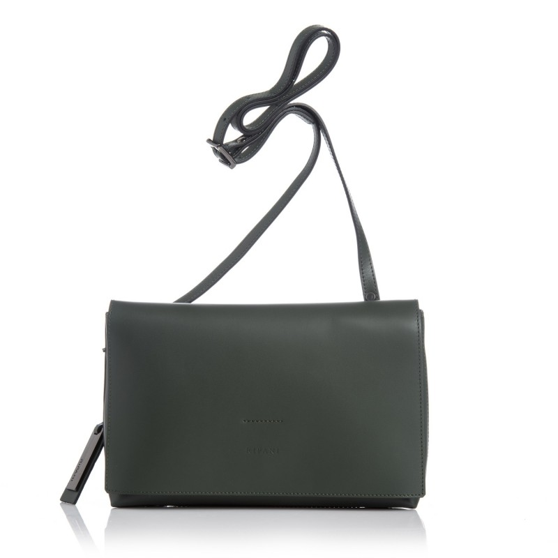 6e72b2020a Soft leather shoulder bag in green color. Leather and metal pendant logo.  Inner lining with zip and cell phone pocket. 100% Made in Italy leather bag.